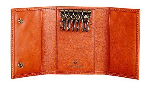 Cronus & Rhea Schlüsseletui aus exklusivem Leder (Janus) | Schlüsselmäppchen - Schlüsselanhänger | Echtleder | Mit eleganter Geschenkbox | Herren - Damen (Cognac)