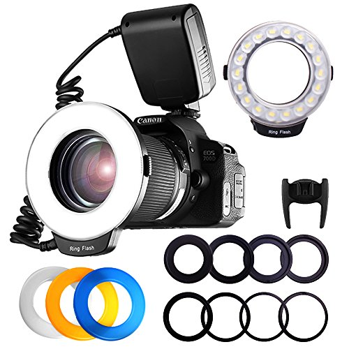 FOSITAN RF-600D 18 SMD LED Makro Blitzlicht Ringblitzleuchte für Nikon Canon Kamera DSLR mit LCD Display Power Control, 8 Adapter Ringe, 4 Licht Diffusor