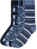 Marchio Amazon - find. 7 Pack Ankle Sock, Calze Uomo, Blu Strisce (Blue Mix), 39-43.5 EU, Label: 6-9.5 UK