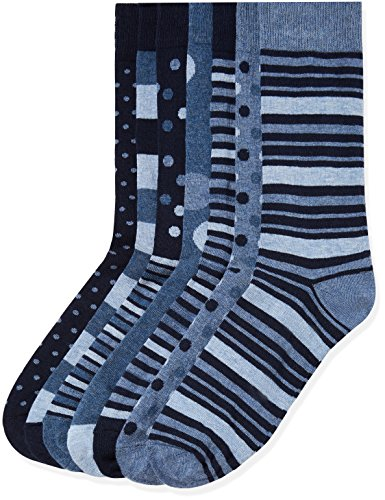 Marca Amazon - find. Calcetines Hombre, Pack de 7, Multicolore (Blue Mix), 39-43.5 EU, Label: 6-9.5 UK