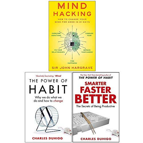 Mind Hacking, The Power of Habit, Smarter Faster Better 3 Books Collection Set