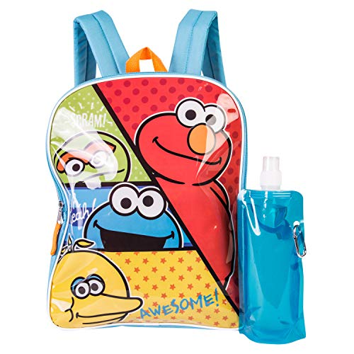 Sesame Street 3 Piece Backpack Combo Set - Elmo & Cookie Monster, Waterbottle and Carabina