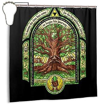 Waterproof Polyester Fabric Shower Curtain Deku Tree Legend of Zelda Print Decorative Bathroom Curtain with Hooks,72   X 72