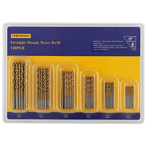 Steel Aluminum Alloy 1 mm to 3.5 mm Plastic Copper Wood COMOWARE 120 Pcs Titanium Drill Bit Set- HSS Drill Bits for Metal