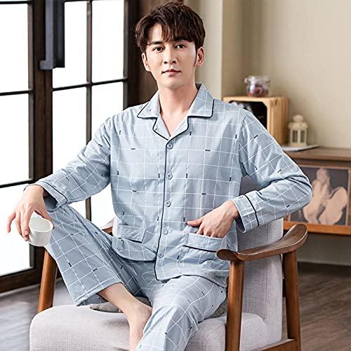 STJDM Camicia da Notte,Completo da Pigiama in Cotone da Uomo Completo da Notte Scozzese Abbigliamento Casual per la casa Pigiama Loungewear Plus Size 4XL (110-120kg) 19