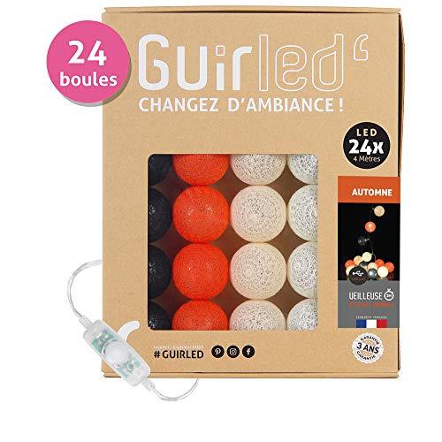 Guirnalda luminosa Bolas de algodón LED USB–cargador USB doble 2A)–3intensidades, Automne, 24 Bolas