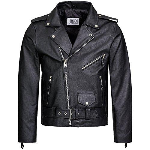 Gaudi-Leathers Chaqueta de Cuero para Hombre Moto o Motocicleta Biker Moto Brando Style L
