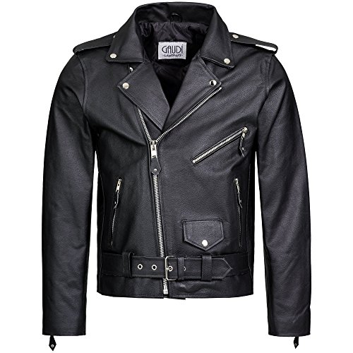 Gaudi-Leathers Herren Lederjacke Brando Jacke Rindleder Biker Motorrad Chopper schwarz, Marke, Schwarz, L