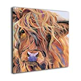 MoulMa Canvas Highland Cow Windy Day Country Photo Paintings Wall Art Prints Modern Decorative Giclee Artwork Wall Decor-Wood Frame Gallery Wrapped