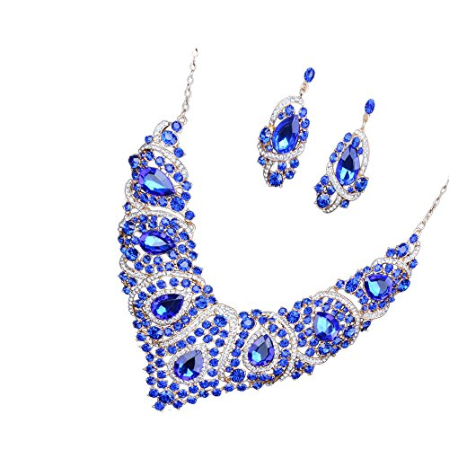 Set Brautschmuck, Ohrringe und Halskette, Diamant-Imitat aus Glas blau