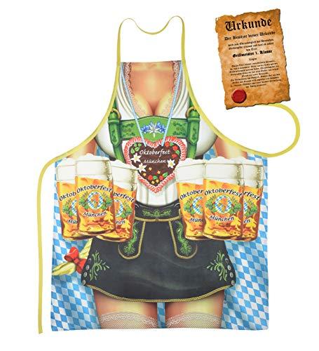 Mega grote schort BBQ schort kookschort met certificaat - Oktoberfest vrouw - grappig schertsartikel voor elke gelegenheid carnaval cadeau-idee