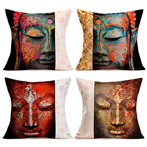 Smilyard Buddha Throw Pillow Covers Vintage India Zen Culture Decorative Pillow Cases Standard Pillow Covers Cotton Linen Square Cushion Cover for Men Women Sofa Couch Set of 4 18x18 Inch (Buddha Set)