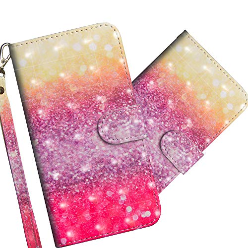 COTDINFOR Huawei Y5 2019 Hülle 3D-Effekt Painted cool Schutzhülle Flip Bookcase Handy Tasche Schale mit Magnet Standfunktion Etui für Huawei Y5 2019 / Honor 8S Gradient Colorful YX.