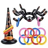 balnore Halloween Wurfspiel Aufblasbare Spinne und Hexen Hut mit 8 Wurfringen Ringwurfspiel Halloween Spiele für Kinder Erwachsene