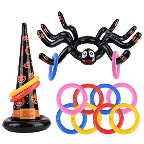balnore 10 Pack Huge Inflatable Spider Witch Hat Ring Toss Game for Kids Adults Halloween Party Favor Game Toys Outdoor Activities Game Spider.