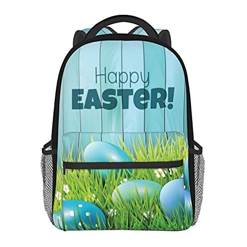 Sac à dos d'école, motif sapin de Noël, décontracté, sac à bandoulière, sac fourre-tout léger pour filles/garçons, Œufs de Pâques bleus., taille unique