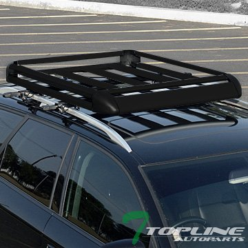 Topline Autopart Universal 50' Aluminum Roof Rack Cargo Basket Carrier Travel Luggage Storage (Black)