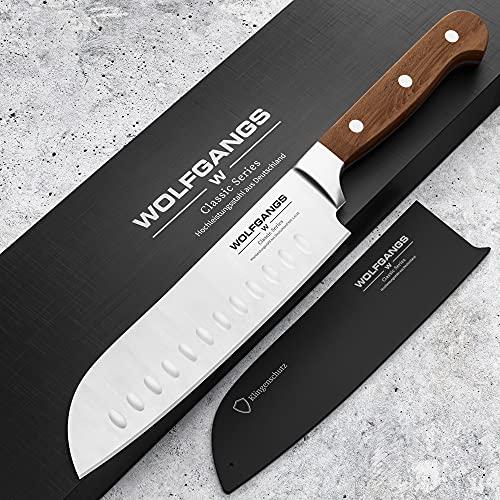 WOLFGANGS hochwertiges Santoku Messer japanisch - Sushi Messer extrascharfe rostfreie Premium-Klinge - Santokumesser aus deutschem Hochleistungsstahl - Japanisches Messer - Santoku japanisch (braun)
