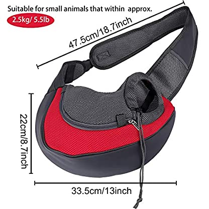 MaoXinTek Pet Sling Carrier Bag, Safe Dog Slings Backpack for Small Puppy Cat 2.5kg/5.5LB Breathable Mesh Travel Carrier Pouch, Shoulder Cross body Bag Hand Free for Outdoor Walking Subway 6