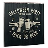 LINARUBE Cortina De Ducha,Fiesta De Halloween.Truco O Cerveza.Set de decoración de baño de Tela de Insignia Retro de Halloween de Vector con Ganchos 150cmx180cm