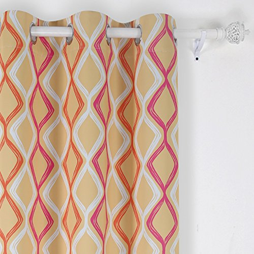 Deconovo Lattice Printed Blackout Grommet Curtains Room Darkening Curtains for Bedroom 42W x 95L Inch White Pink Orange and Yellow One Drapes