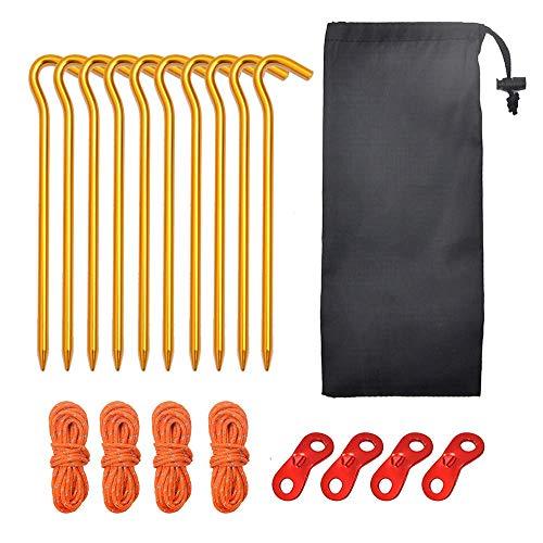 LQUIDE Kit de piquets de Tente en Alliage d'aluminium avec 10 Paquets de piquets de Tente en Aluminium 4pcs 2m Corde de Tente 4pcs Cordon de réglage 1pcs Petite Pochette, Jaune