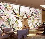 Blovsmile Papel tapiz flor alce animal Pared de fotos mural para sala de estar sofá Fondo pared decoración de pared papel pintura al óleo wapiti A-200X150cm(WxH)