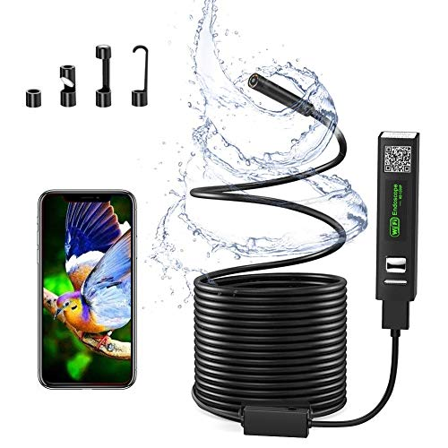 Wireless Inspection Camera, WiFi Endoscope Borescope IP68 Waterproof USB Port 1200P 2.0 Megapixels HD 11.5FT Snake Camera with 8 LED Light for iPhone, Android, iOS, Samsung, Laptop, Mac