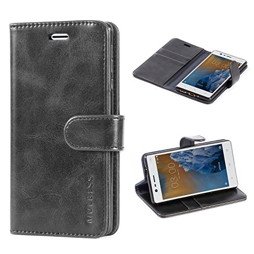 Mulbess Cover per Nokia 3, Custodia Pelle con Magnetica per Nokia 3 Case, Nero