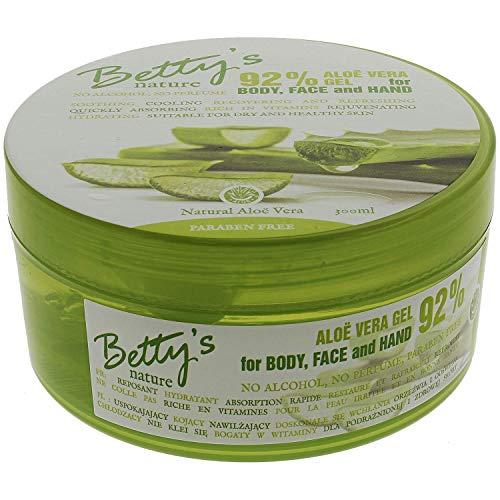 Betty's Aloe Vera Gel 100% frei von Tierquälerei! Für Körper, Gesicht und Hand. Für trockene Haut, reduziert Falten, Sonnenbrand, behandelt Akne, heilt Wunden und löscht...