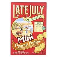 LATE JULY Organic Mini Bite Size Sandwich Crackers Peanut butter 5 oz (142 g) レートジュールライ 有機一口サイズ サンドイッチ クラッカー(ピーナッツバター味)3個セット [海外直送品]