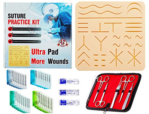 Suture Practice Kit (42 Pieces) for Suture Skill Training Include Suture Pad 8 x 8 Inches with 31...