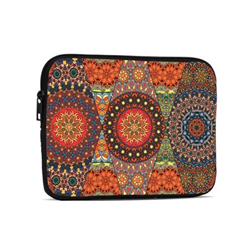 Fundas para portátil Mandala Floral Antiguo Estilo Tribal Accesorios para iPad compatibles con iPad 7,9/9,7 Pulgadas Bolsa Protectora de Neopreno a Prueba de Golpes con Cremallera y asa c