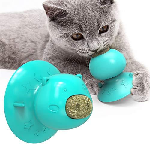 Katzenminze Ball Saugnapf Interaktive Katze Lick Ball für Katzen Wandhalterung Molar Beißspielzeug Pet Toys zum Schleifen von Zähnen, Spielzeug für Katzen Kätzchen Matatabi Zahnpflege, (Blau)