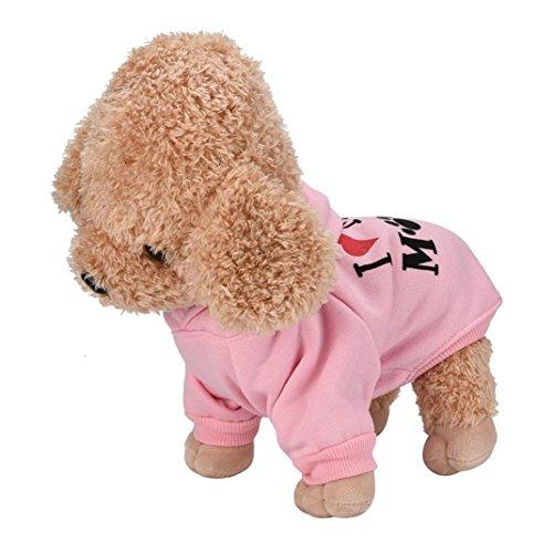 Culater® My Mom Pet Vestiti del Cane per Cani di Piccola Taglia del Cane Caldo Cappotto Giacca Primavera Autunno Giacca Cucciolo Yorkies Chihuahua Vestiti (S, Rosa)