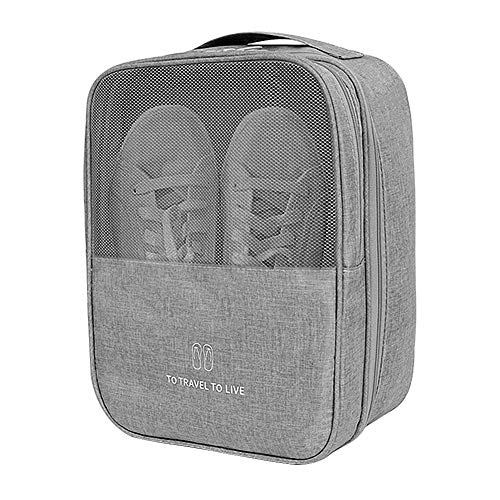 Yeahmart Travel Shoe Bag Waterproof Portable Organizer Storage Shoe Pouch Holds 3 Pair of Shoes (Grey)