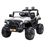 TOBBI 12v Kids Ride On Truck with Remote Control, Battery Powered Ride on Toy Car w/ Music, MP3, Safety Belt, White