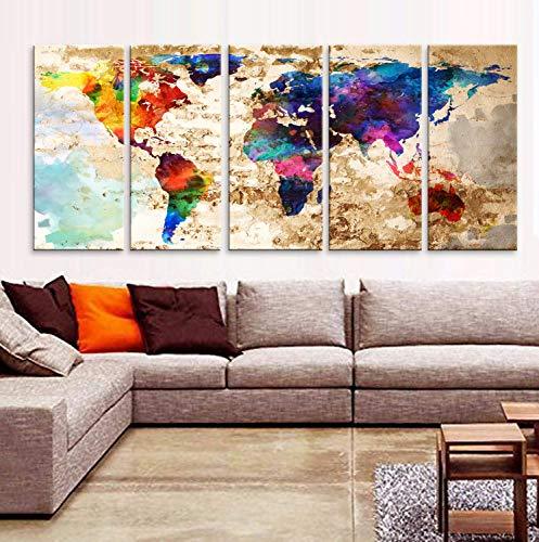 Original by BoxColors XLARGE 30'x 70' 5 Panels 30'x14' Ea Art Canvas Print Original Watercolor Texture Map Old brick Wall Full color decor Home interior (framed 1.5' depth)