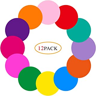 12 Pcs Colorful Dry Erase Dots Circles White Board Marker Removable Vinyl Dot Wall Decal for School Teaching (11.8 inch) Self-Adhesive
