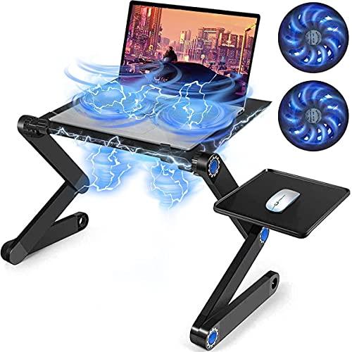 SEASKY Mesa Ordenador Portatil, Mesa Laptop Base Ajustable y Plegable,Doble Ventilador y Tablero para Mouse, Portátil...