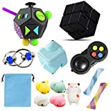 HILUDEER Sensory Fidget Toy Set 12pcs Pack , Stress and Anxiety Relief Toys Bundle for Everyone, Include 12 Sided Figit Cube/Fidget Pad/Infinity Cube/Cube Spinner/Flippy Chain/Mochi Squishy