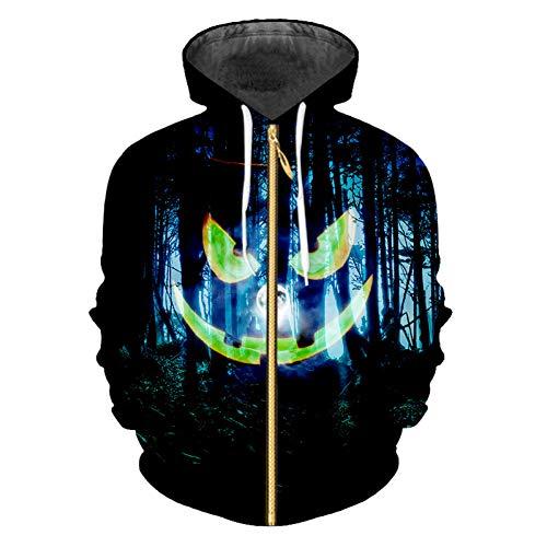 SBWYSS Sudadera 3D HalloweenHombre Superventas Sudaderas con Capucha de Halloween Cremallera 3D Tamaño Grande 5XL Impreso Forest Pumpkin Zipper Coat Hombres Sudadera al por Mayor