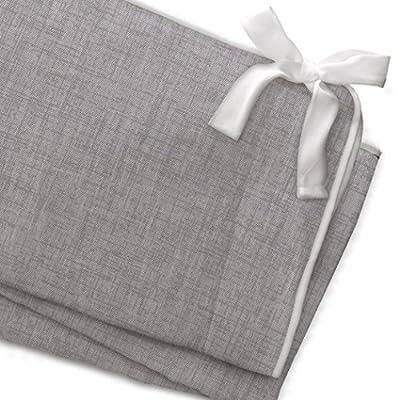 Gray Crosshatch Crib Rail Cover (White Trim)
