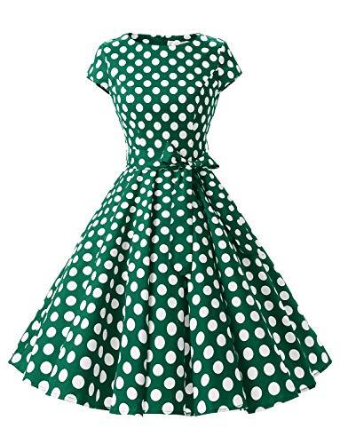 """Dressystar-Kleid """"Audrey-Hepburn"""", klassisches Retrodesign, im Stil der 50er- und 60er Jahre ohne Ärmel Gr. X-Small, Grün mit weißen Punkten B."""