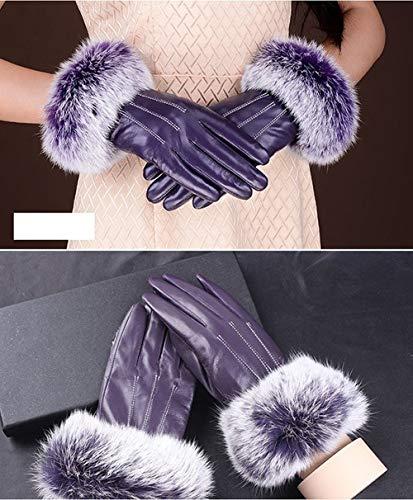 Ylanmg Guantes de Cuero de Invierno Manoplas for los Guantes de Pulsera de Mujeres de Piel de Oveja Guantes de Conducir Top Negro Calientes (Color : Púrpura, Gloves Size : M)