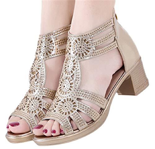 Mid Heel Sandals Dress Shoes Women Graduation Ceremony Prty Sandals Bohe Sandals Retro Shoes by Gyouanime Gold