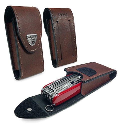 Victorinox Echtes Leder Swiss Army Pen Messer Gürteltasche mit Haken-und-Loop Fastener (5-8 layers) - Braun