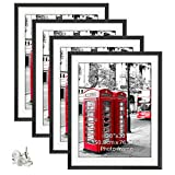 Giftgarden 24x36 Poster Frames Matted to Display 20x30 Photo, 4 Pack 24 by 36 Inch Black Picture Frame Set Without Mat, 20 by 30 Wall Arts with Mat