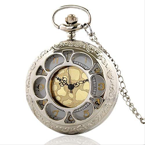 TaschenuhrVintage Silber Hohlquarz Taschenuhr mit Kette Retro Gold Zifferblatt Männer Frauen Anhänger Halskette Uhr Geschenk Kia.