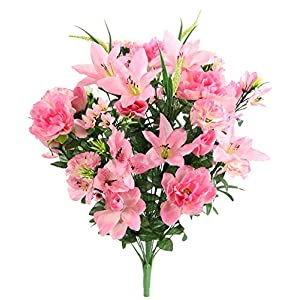 Admired By Nature ABN1B001-PNK 40 Stems Artificial Full Blooming Lily, Rose Bud, Carnation and Mum with Greenery Mixed Flower Bush, Pink